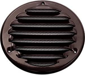 Vent Systems 6'' Inch Brown Soffit Vent Cover - Round Air Vent Louver - Grill Cover - Built-in Insect Screen - HVAC Vents for Bathroom, Home Office, Kitchen