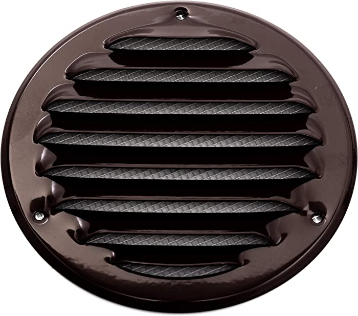 Vent Systems 4'' Inch Brown Soffit Vent Cover - Round Air Vent Louver - Grill Cover - Built-in Insect Screen - HVAC Vents for Bathroom, Home Office, Kitchen 4'' Inch