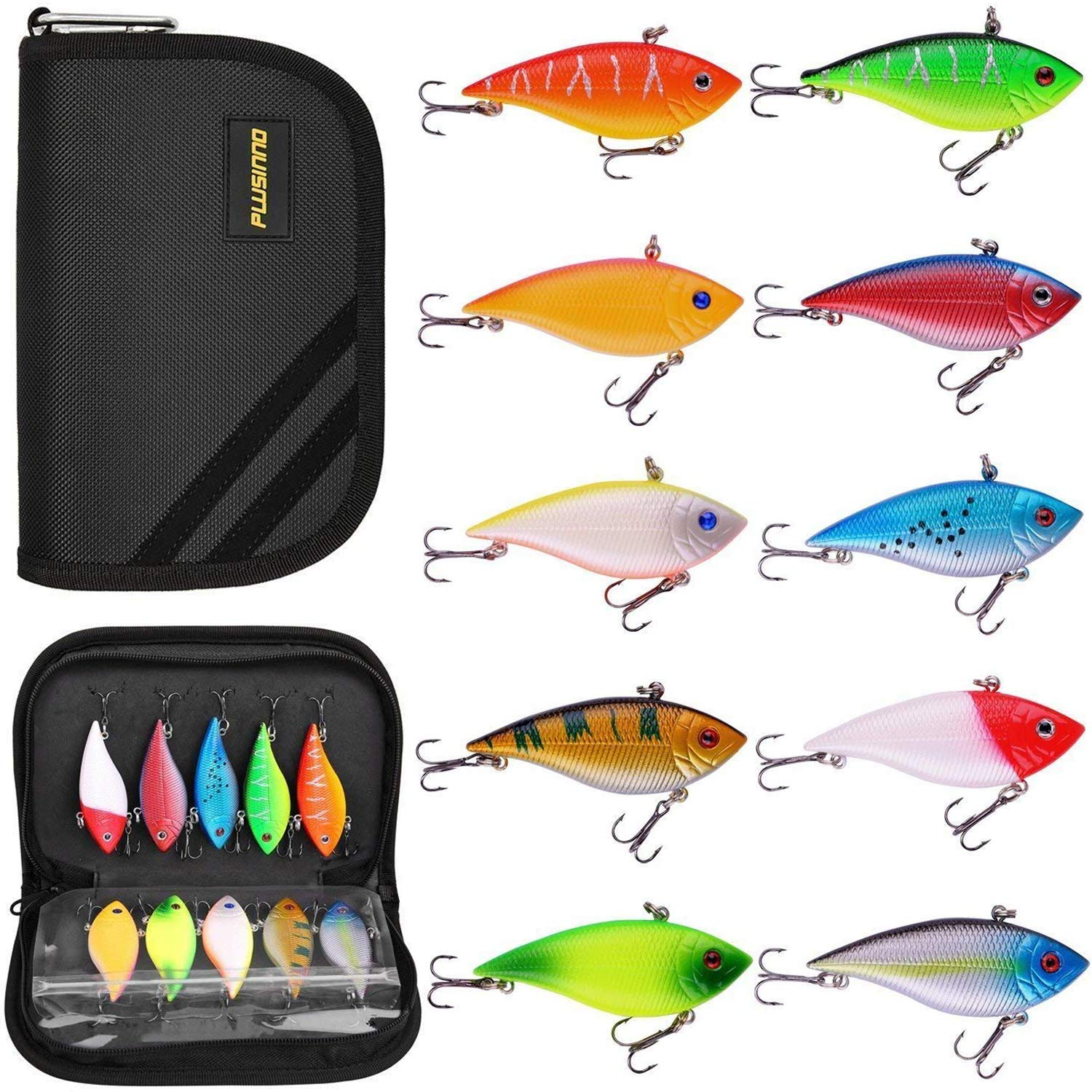 PLUSINNO Fishing Lures, 10 Pack Hard Baits Minnow VIB Lure Crankbait Kit with Free Carry Bag for Bass Trout Walleye Redfish by PLUSINNO