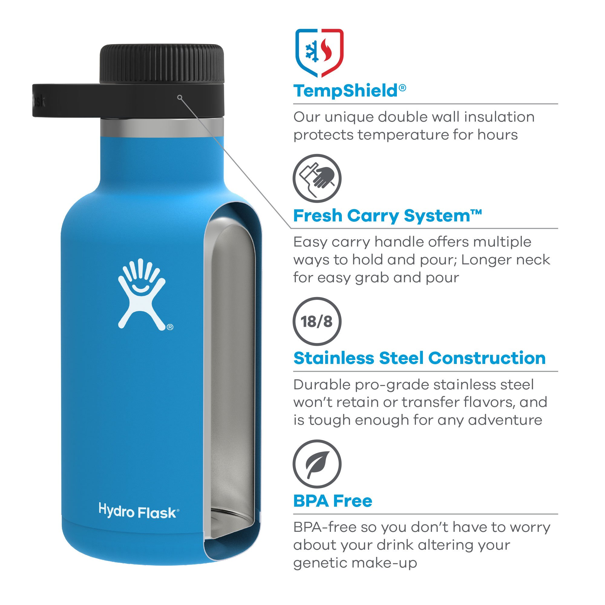 Hydro Flask 32 oz Double Wall Vacuum Insulated Stainless Steel Beer Howler, Olive by Hydro Flask (Image #3)