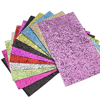 David Glitter Sequins Fabric Faux Leather Sheets Synthetic Leather 11 Pcs  8 quot  x 13 quot  0bacdf4c77f6