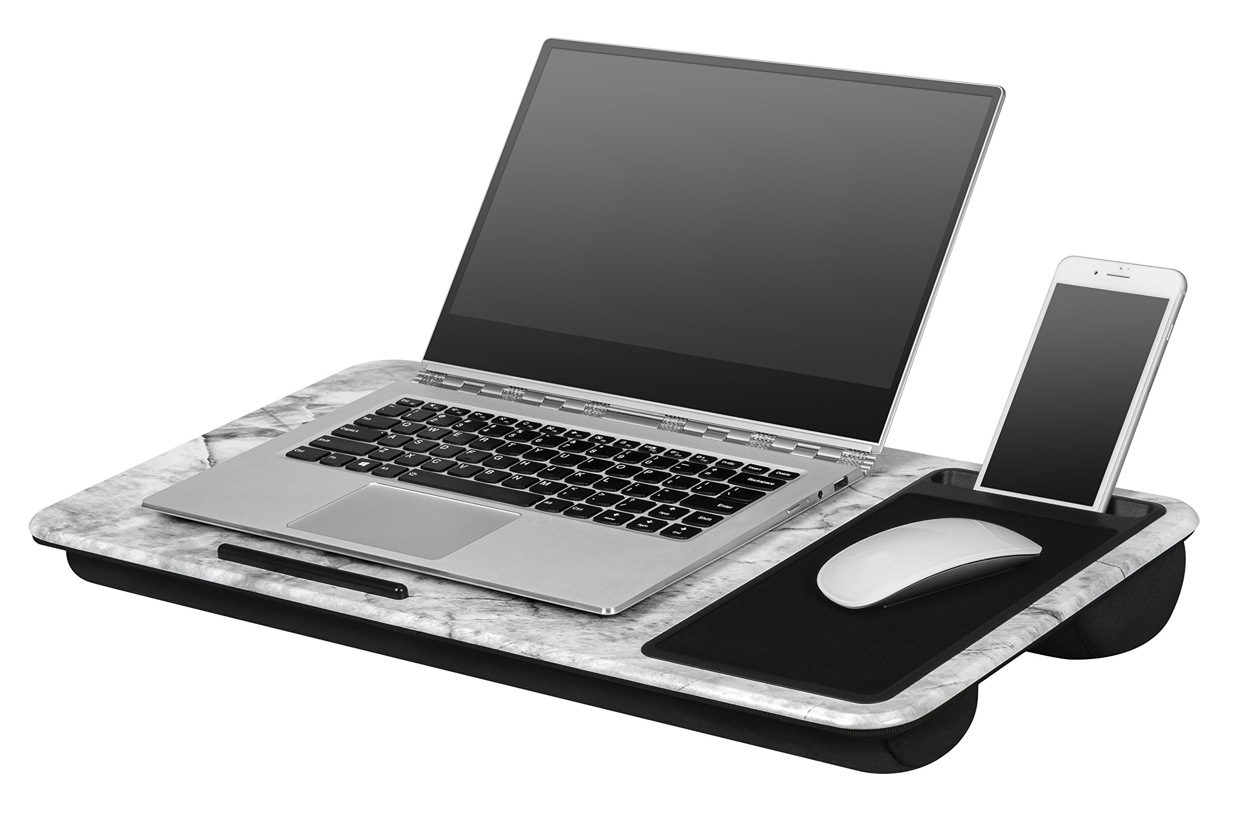 "LapGear Home Office Lap Desk - White Marble (Fits up to 17.3"" Laptop)"