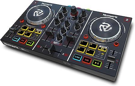 side facing numark party mix dj controller set