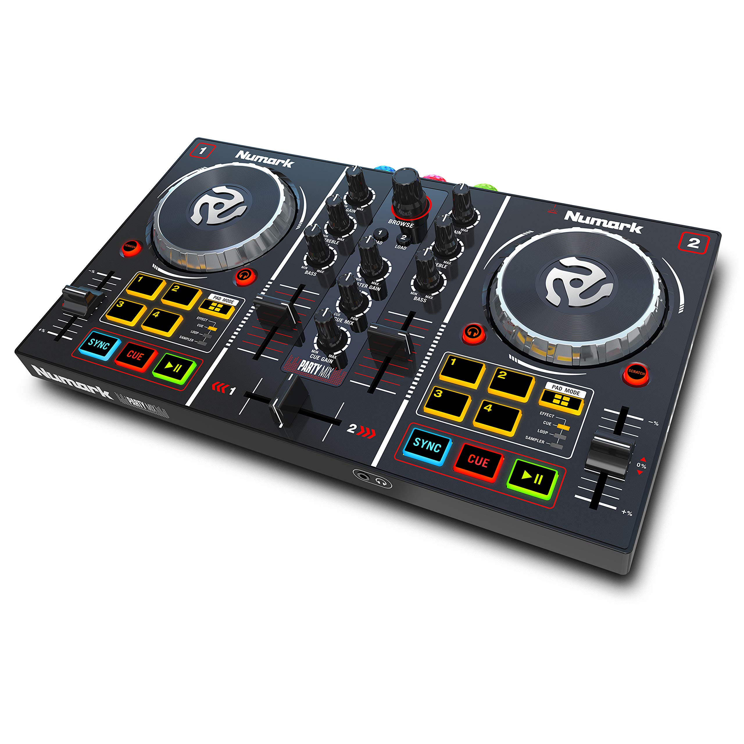 Numark Party Mix, Complete DJ Controller Set for Serato DJ with 2 Decks, Party Lights, Headphone Output, Performance Pads and Crossfader/Mixer