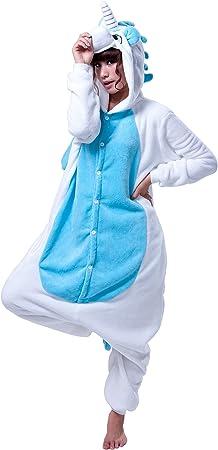 LIHAO Pijama Disfraz de Unicornio Azul para Adulto Unisex, Cosplay, Carnaval (Talla:L)