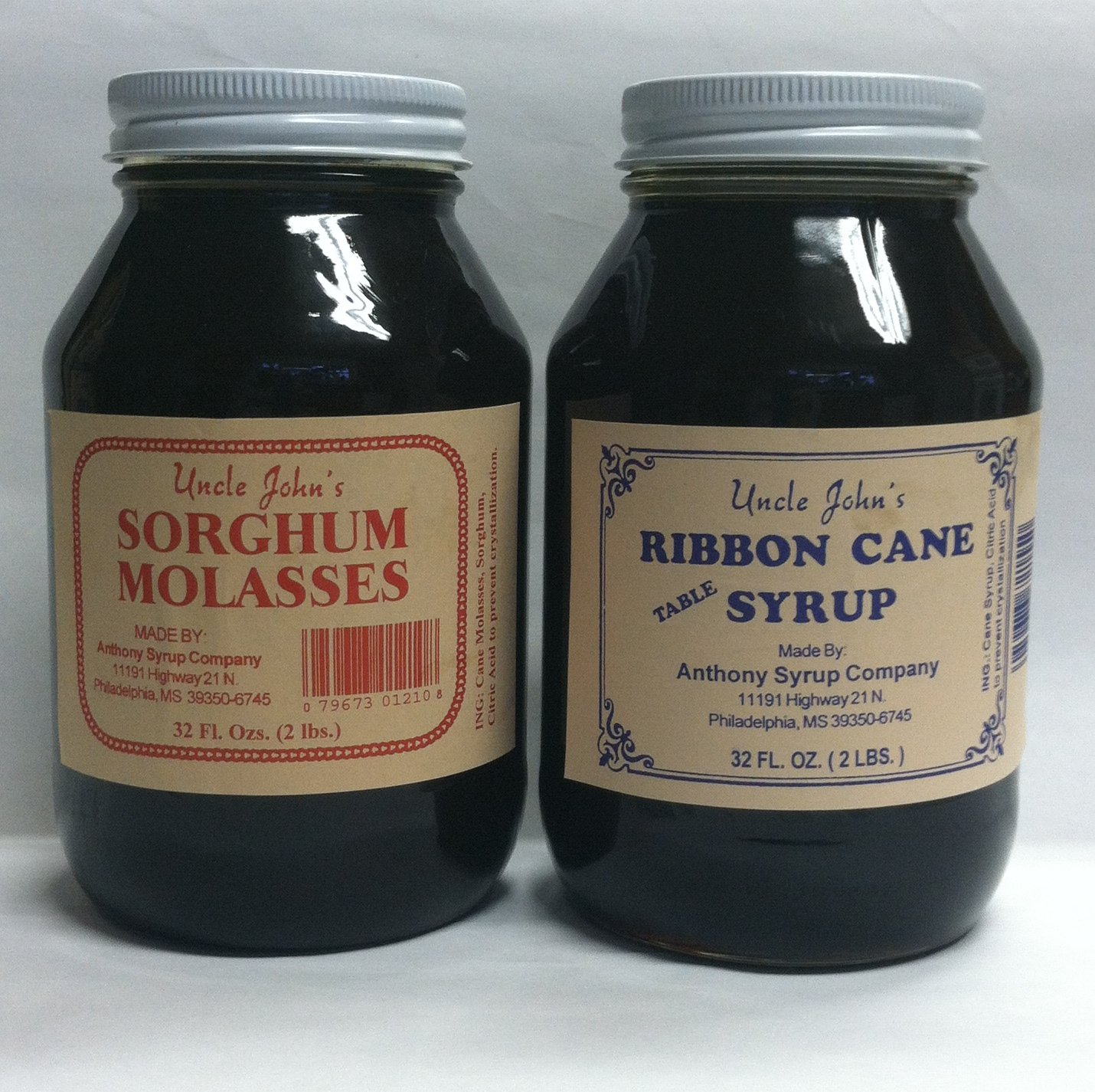 Uncle Johns Ribbon Cane Table Syrup and Sorghum Molasses Sampler Glass Quarts by Uncle John''s (Image #1)