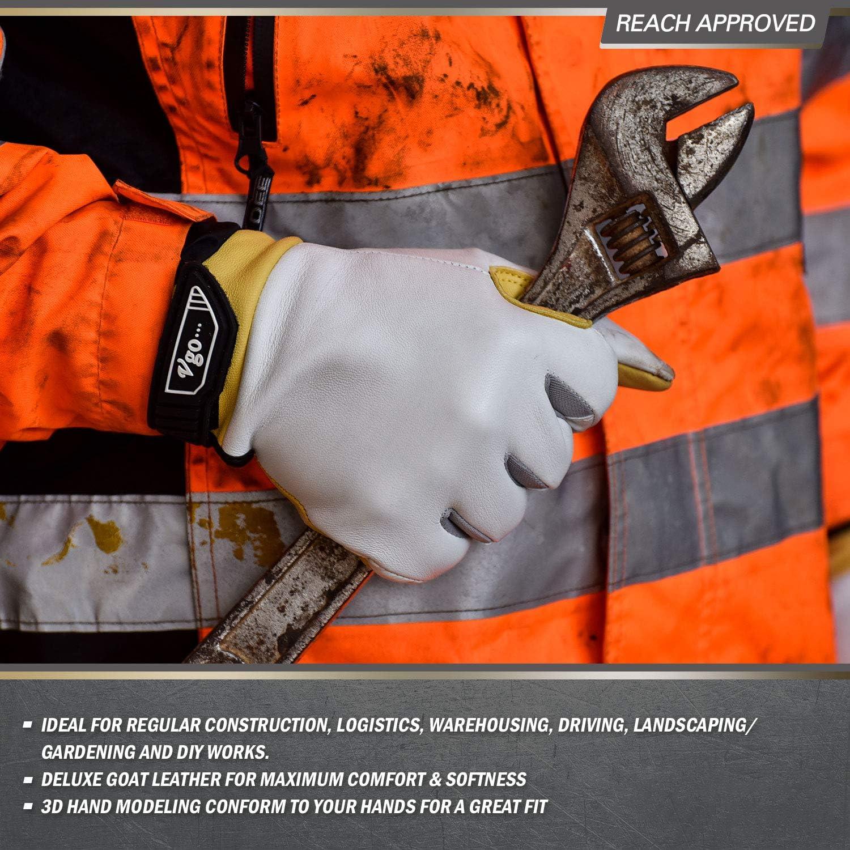 Almohadillas de Palma de Espuma Gruesa de 8 mm Pantalla T/áctil para Hombres 8//M, Blanco, GA7690 Vgo 3Pares Guantes de Trabajo de Cuero de Cabra para Trabajo Mediano