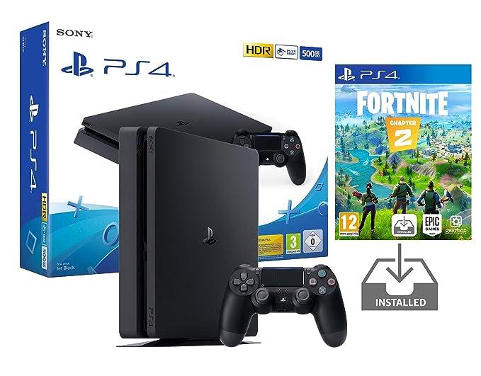 PS4 Slim 500Gb Negra Playstation 4 Consola Pack + Fortnite ...