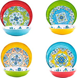 Melamine Dinnerware Set 12 Pcs Durable Dishware Colorful Plate Bowl Set Turkish Tile Dishwasher Safe Shatter Proof Chip Resistant Not Microware Not Oven (Multicolor)