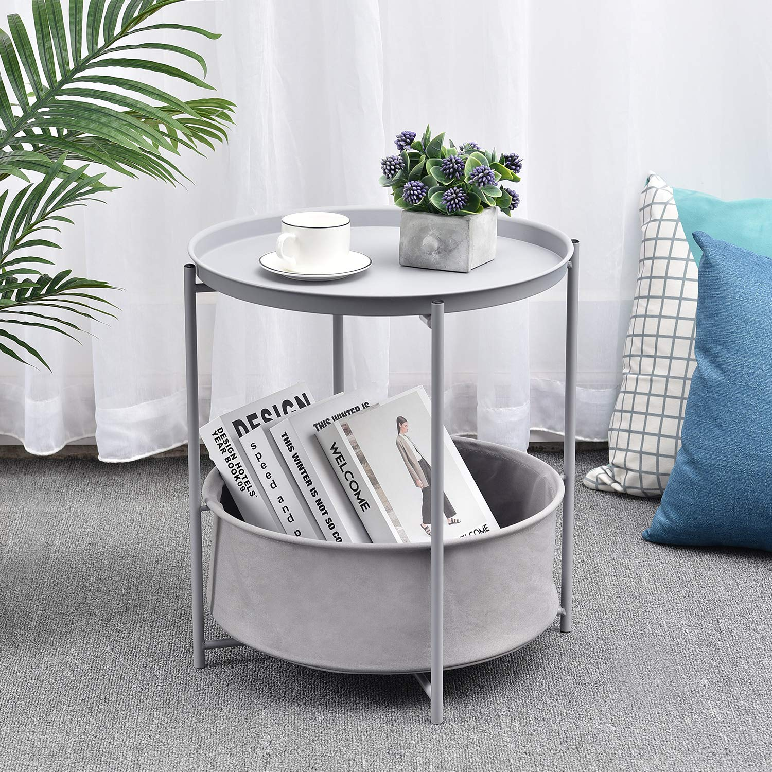 Off White Scandi Style Lamp Table for Living Room Bedroom kingrack Coffee Round Table,Metal Nightstand,Sofa Side Snack Table,Bedside End Table with Detachable Tray Top and fabric Storage Basket