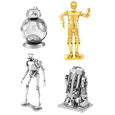Fascinations Metal Earth 3D Metal Model Kits Star Wars Droid Set of 4 R2-D2 - C-3PO - K-2SO - BB-8: Toys & Games