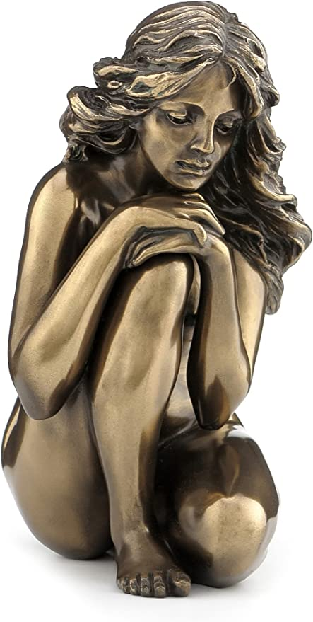 Bronze Color 5.13 Inch Nude Female Statue Figurine Sitting Thinking