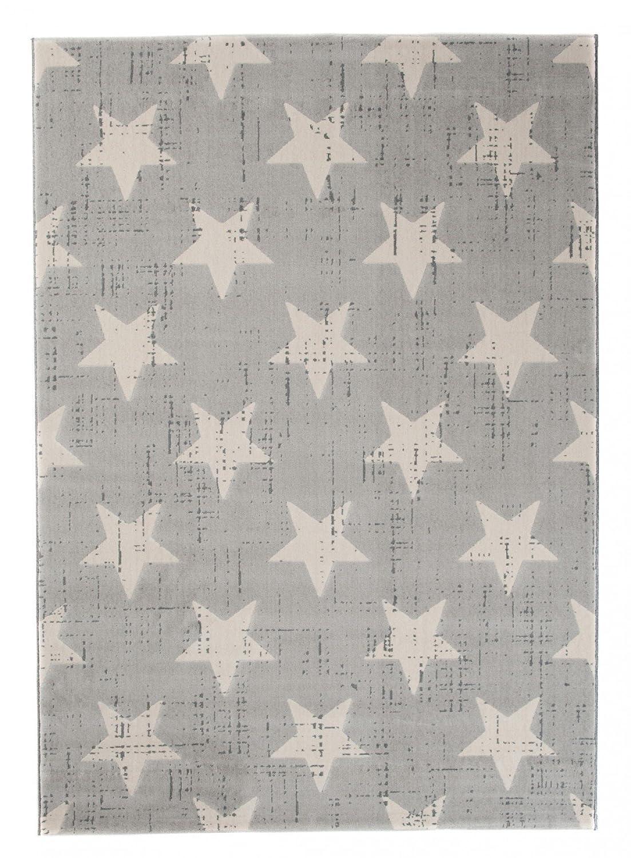 Tapiso Canvas Modern Teppich Kurzflor Designer Teppiche mit Geometrisch Sternen Muster in Pastell Grau Creme Perfekt für Jugendzimmer Kinderzimmer ÖKOTEX 200 x 290 cm