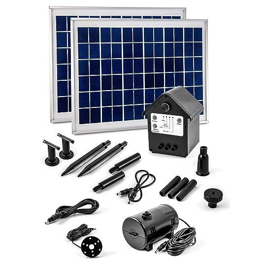 CLGarden NASP3Z Pompe solaire avec fontaine rechargeable Ensemble ...
