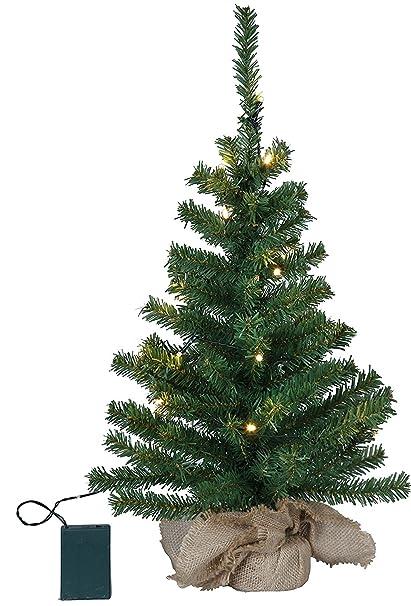 Weihnachtsbaum 60cm inkl Deko /& LED-Lichterkette mit Timer Christbaum beleuchtet