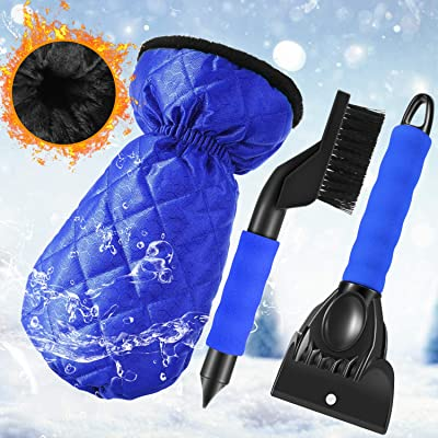 Frienda Ice Scraper Gloves Windshield Snow Scraper Mitts with Thick Fleece Lined, Snow Brush Snow Ice Remover Tools for Car Windshield Snow, Total 3 Pieces: Automotive