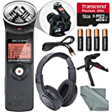 Zoom H1 Ultra-Portable Digital Audio Recorder Along with Samson Stereo Headphone and Deluxe accessory bundle.