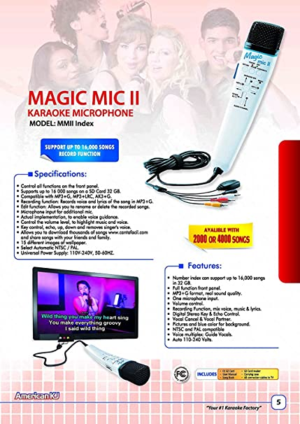 Magic Mic Index with 8000 English Songs SD Card, Real