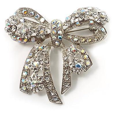 Amazon com: Avalaya Stunning Swarovski Crystal Bow Brooch (Silver