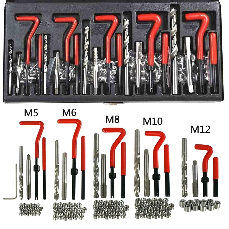 M5 GLOGLOW 30 St/ück M5//M6//M8 Gewindereparatursatz HSS Bohrer Helicoil Repair Kit Kompatibel Handwerkzeug Set f/ür Auto Reparatur