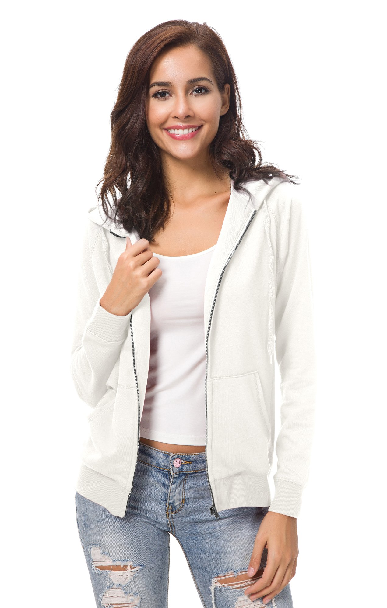 Urban CoCo Women's Full Zip-up Hooded Sweatshirt Long Sleeve Casual Hoodie Jacket (M, Ivory)