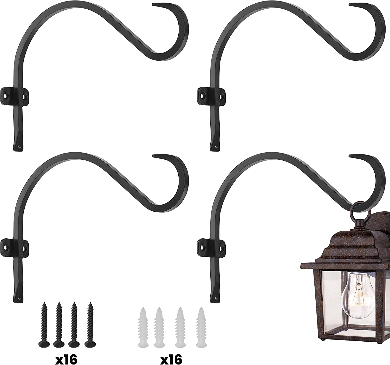 Hanging Plant Bracket (4 Pack - 12 inches), Sturdy and Stable Wrought Iron Plant Hanger Bracket Outdoor, Strong Metal Hooks for Hanging Plant, Flower Basket/Lantern/Bird Feeder Hanger (4Pack-12inches)