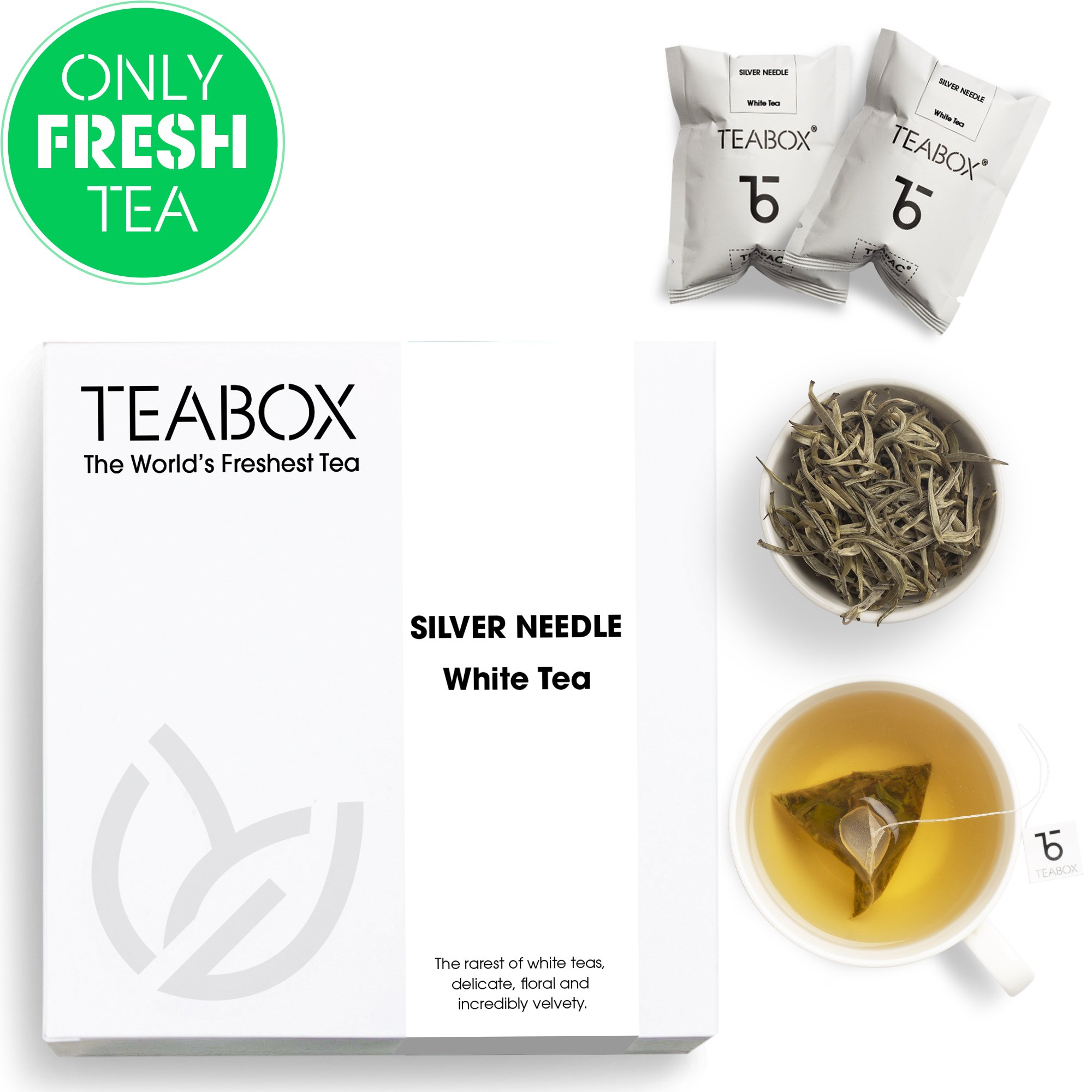 Teabox Darjeeling Silver Needle White Tea, 16 Tea Bags | 100% Natural Premium High Altitude Darjeeling CTM Silver Needle Tea | Low Caffeine and High Anti-Oxidants | Sealed-at-Source Freshness by Teabox (Image #1)