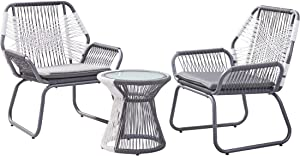 Christopher Knight Home 305239 Ava Outdoor 3 Piece Rope and Steel Chat Set, Finish, Gray/White/Gray