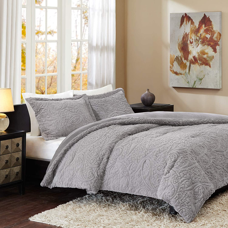 Madison Park Norfolk Super Soft Plush Faux Fur Paisley Blush Luxury Bedding Set Bedroom Comforters, Twin/Twin XL, Grey
