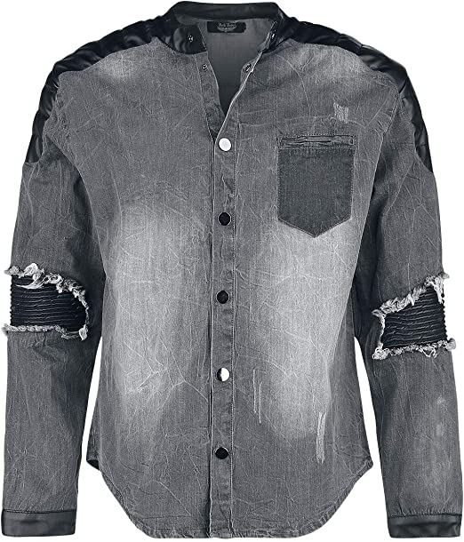 Rock Rebel by EMP Denim Shirt with Used-Look and Biker ...