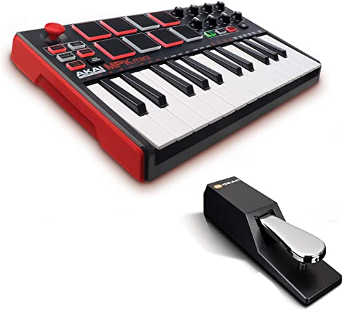 AKAI Professional MPK Mini MKII + M-Audio SP-2 - Teclado controlador MIDI USB portátil con 25 teclas, 8 pads MPC, 8 potenciómetros, joystick + Pedal ...