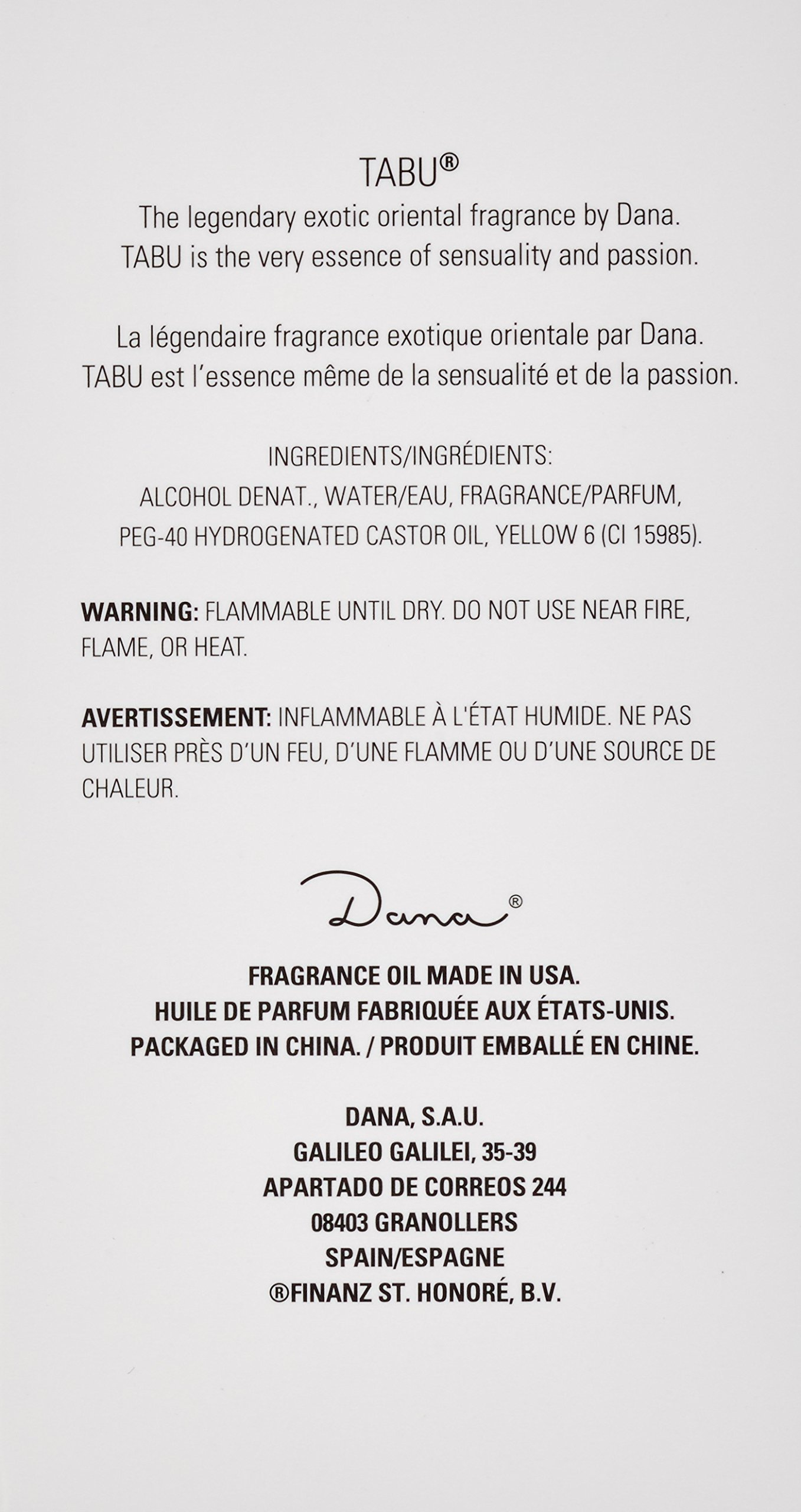 Dana Tabu Eau de Cologne Spray for Women, 3.4 Ounce