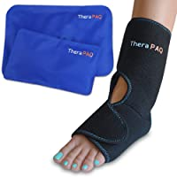 Foot & Ankle Pain Relief Ice Wrap with 2 Hot / Cold Gel Packs by TheraPAQ | Best for Achilles Tendon Injuries, Plantar Fasciitis, Bursitis & Sore Feet | Adjustable, Microwaveable, Freezable and Reusable (2-Pack XS-XL)