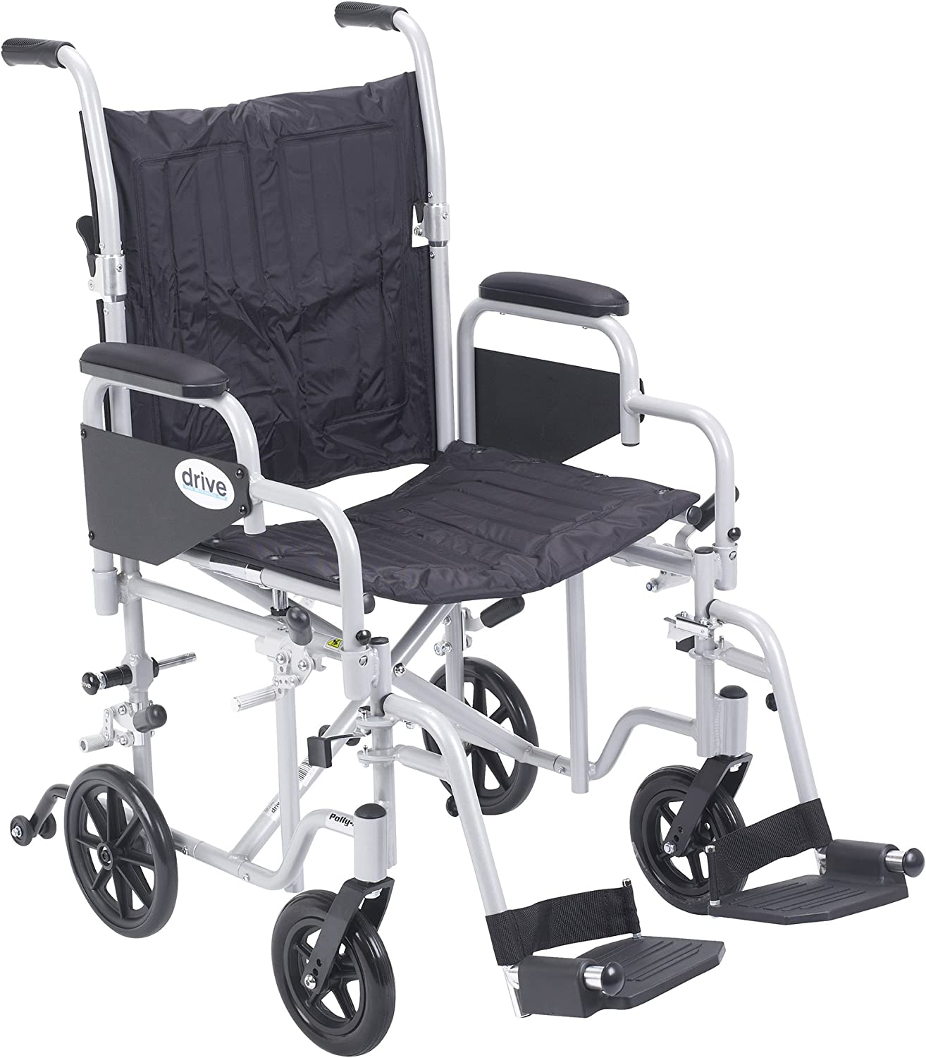 "Drive Medical Poly Fly Light Weight Transport Chair Wheelchair with Swing-Away Footrest, Silver, 20"" 81eRNJsmc8L"