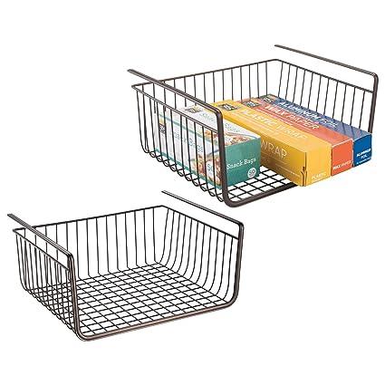 mDesign Juego de 2 estantes de cocina colgantes – Sólidas cestas metálicas  en alambre de acero e9f2bf47050e