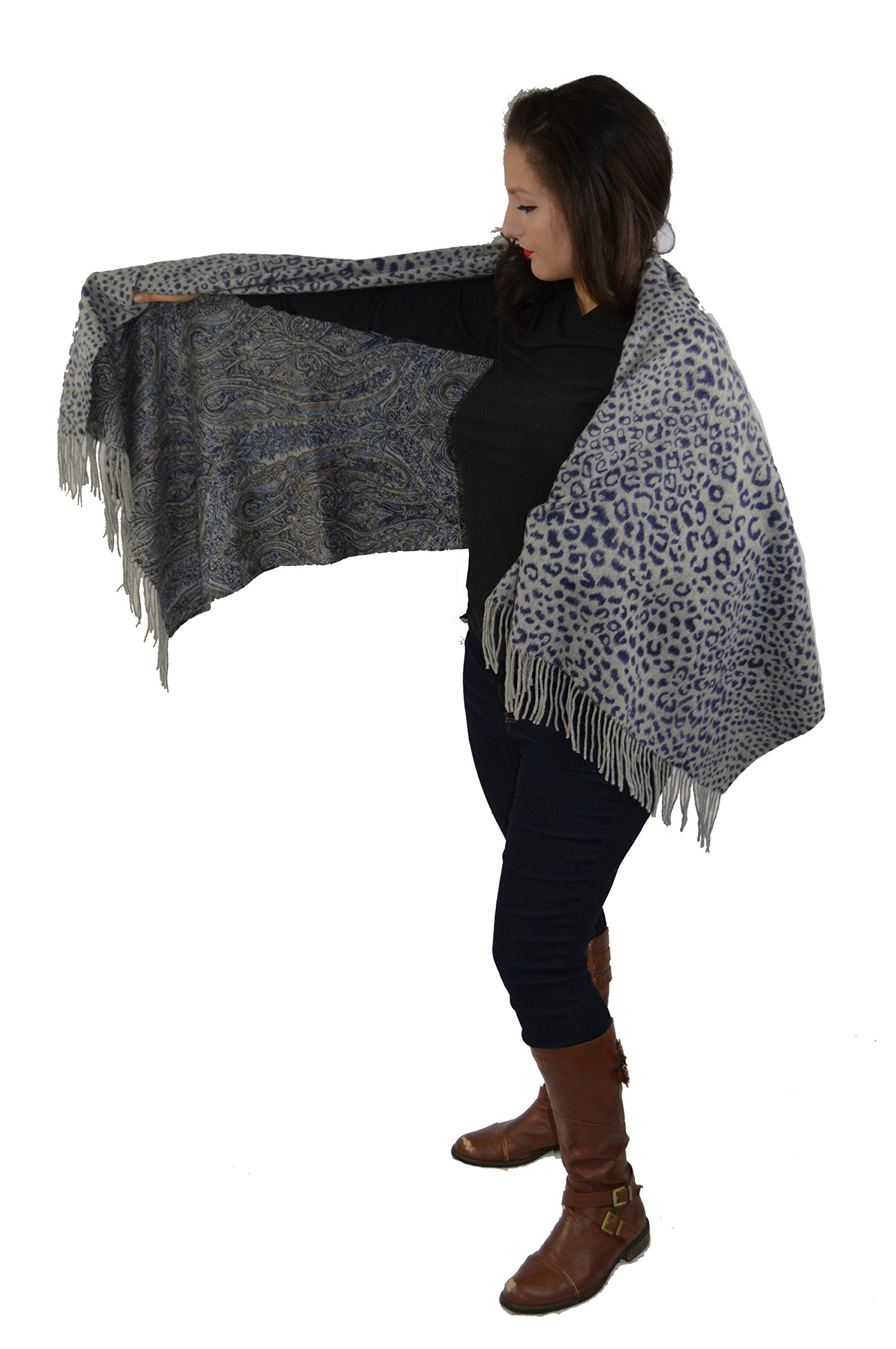Cashmere Pashmina Group-Cashmere Shawl Scarf Wrap Stole (Solid/ Reversible Print w/ Genuine Fur) -Gray