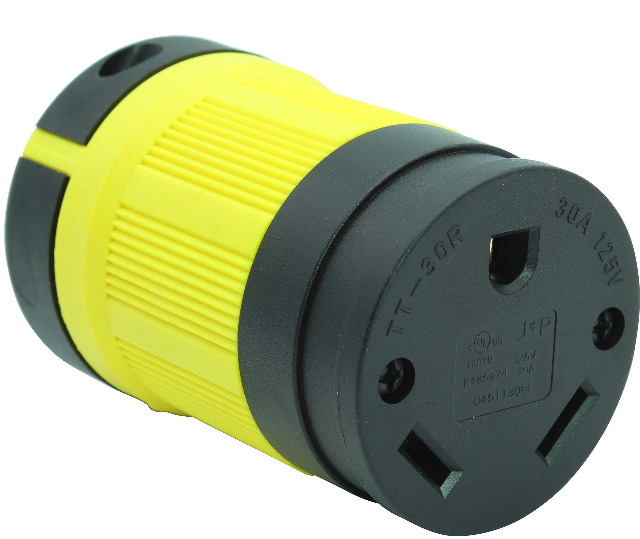 Journeyman-Pro NEMA TT-30R, 30 Amp, 125 Volt, Straight Blade Female RV Trailer Plug Connector, Black/Yellow Industrial Grade, Grounding 3750 Watts Generator TT30 (TT30R-YELLOW)