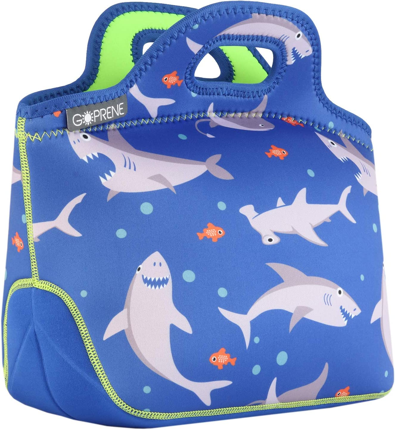 GOPRENE Lunch Bag For Boys, Fits A Kids Lunch Box, Insulated Neoprene Bag, Blue Shark, Bento Box and Thermos Fit Easily, Keeps Food Cold 4 Hours, Perfect For Your Son, Child, or Toddler at School