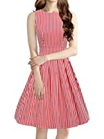 Women's Vintage 1950s Sleeveless Dress with Boat Neck Inspired Rockabilly Swing Dress