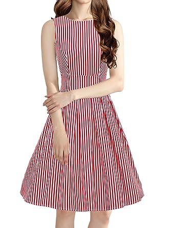 iLover Vintage Rockabilly Gestreiften Kleid Hepburn Stil Partykleid ...