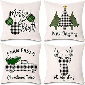 Onene 4 Pack 18 x 18 inch Pillow Cover Buffalo Plaid Black White Check Plaid Cushion Decorative Pillows Cotton Linen Throw Pillow Covers Merry Christmas Xmas Pillow Shams Cases
