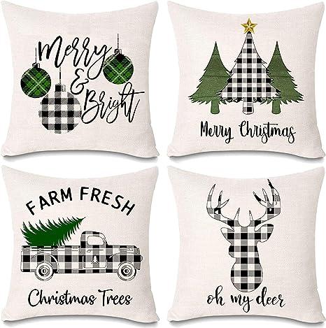 onene 4 pack 18 x 18 inch pillow cover buffalo plaid black white check plaid cushion decorative pillows cotton linen throw pillow covers merry