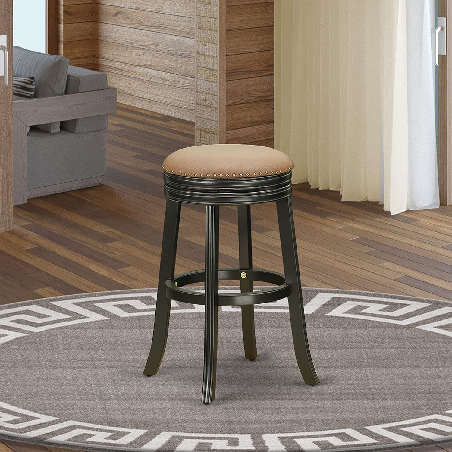 East West Furniture Devers Swivel Backless Barstool 30'' Seat Height With Black Leg And F12-12 Pu Leather Brown Roast