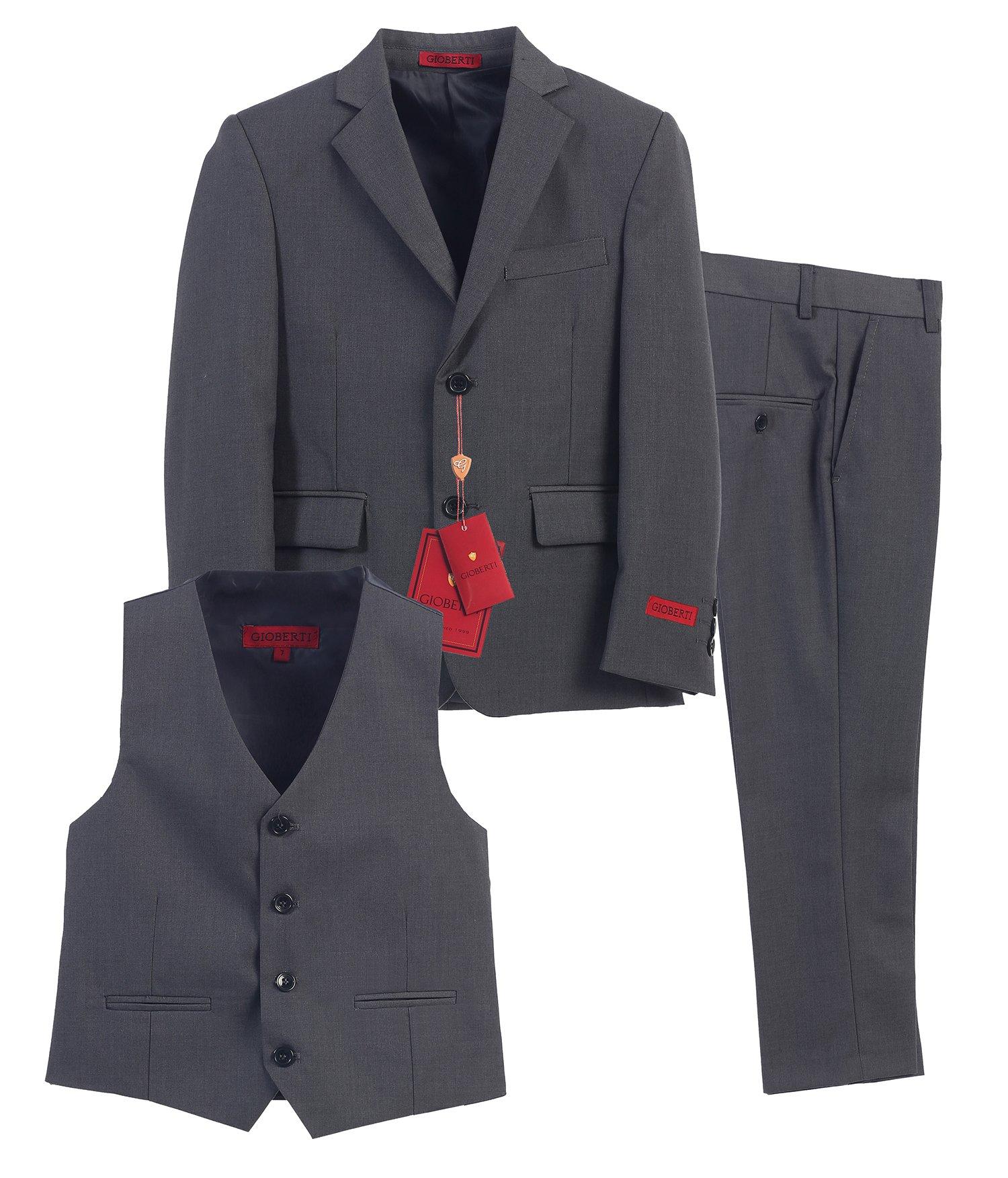 Gioberti Boy's Formal 3 Piece Suit Set, Charcoal, Size 20