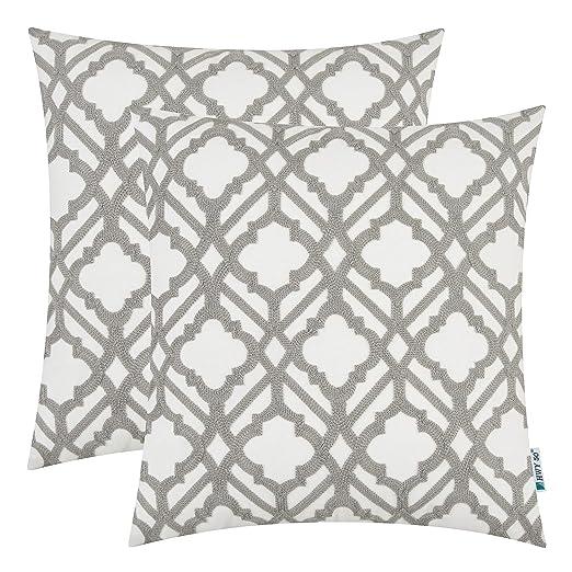 Pack de 2 fundas de almohada bordadas para sofá/cama de 45 ...