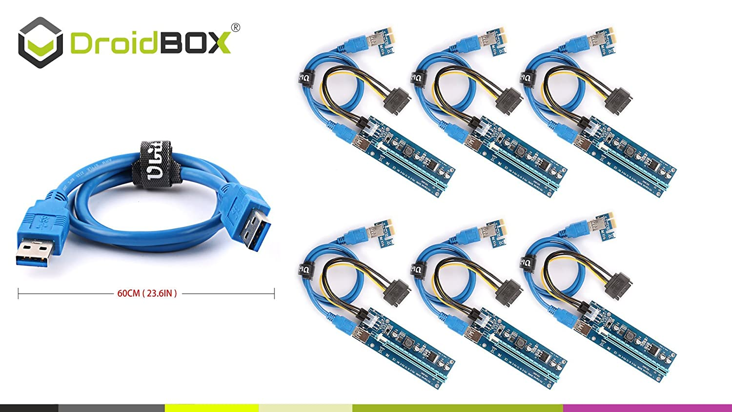 6 Pieces![UPDATED-HQ Components] DroidBOX PCI-E V006C Extender Cable USB 3.0 Converter 4PIN 6PIN SATA PCI Express PCI-E 1X to 16X Riser Card 60CM For Bitcoin BTC Etherium Mining (6 Pieces)