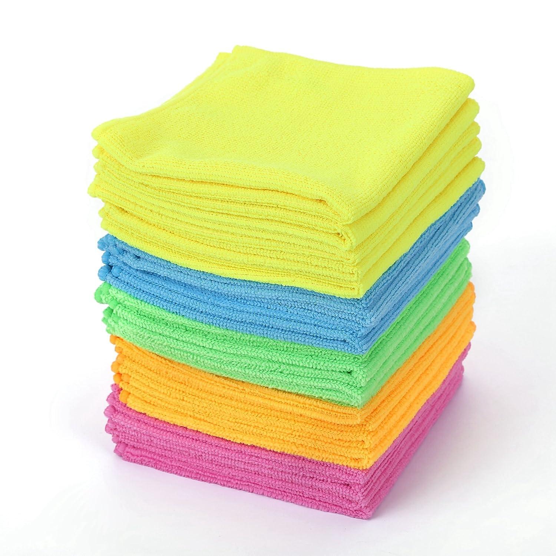 マイクロファイバークリーニングクロス - HijiNA、20枚入り、サイズ12 x 12インチ、キッチンの掃除作業、バスルーム、ダイニングルームなどに。 B07176W3SJ Plain - 5 Colors X 4