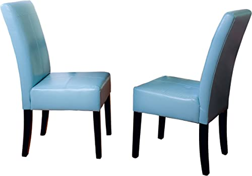 Best Selling Teal Blue T-Stitch Bonded Leather Dining Chair