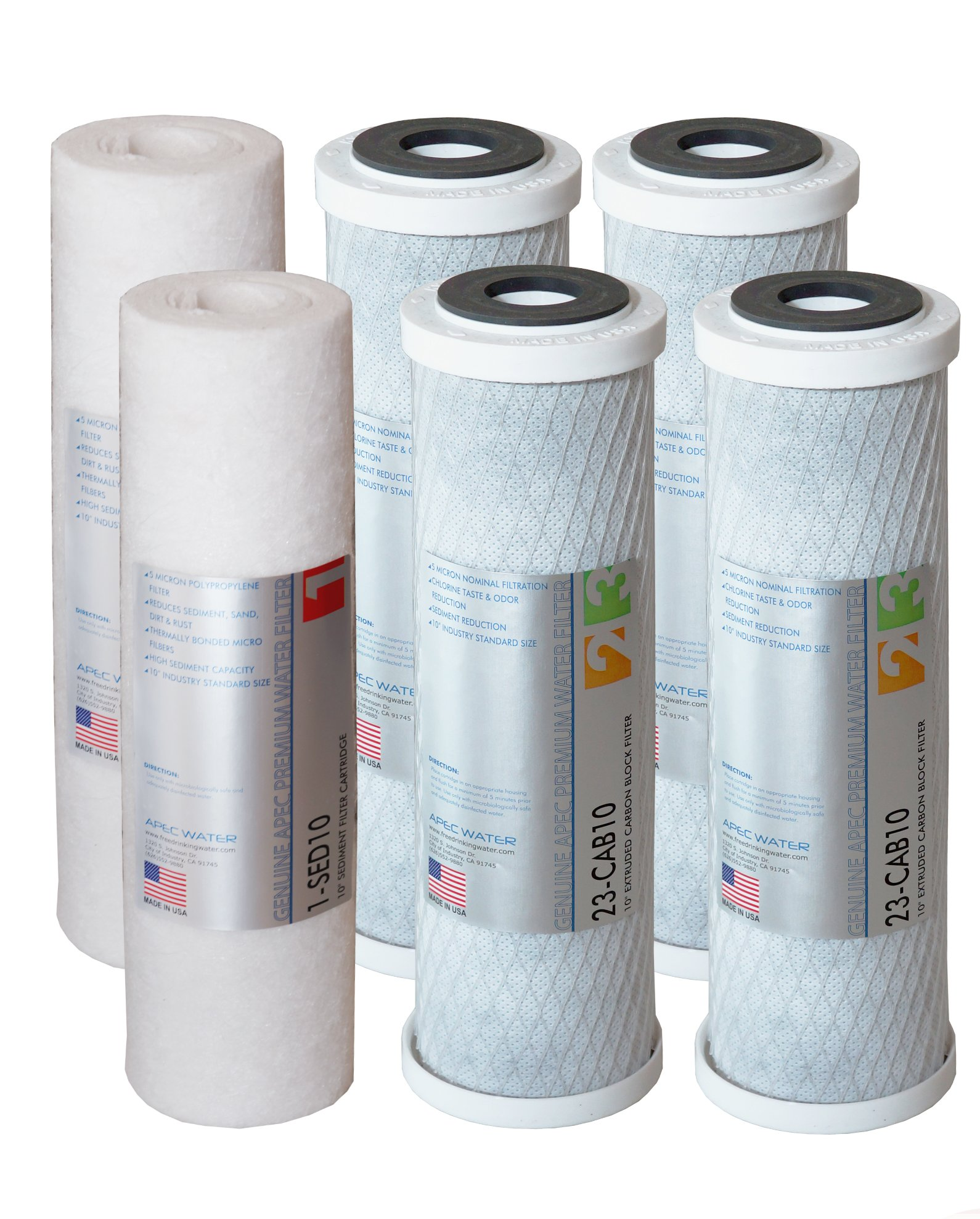 APEC FILTER-SETX2 US MADE 2 Sets of Double Capacity Replacement Pre-Filter Set For ULTIMATE Series Reverse Osmosis Water Filter System Stage 1, 2&3, pack of 2 sediment and 4 carbon black Filters