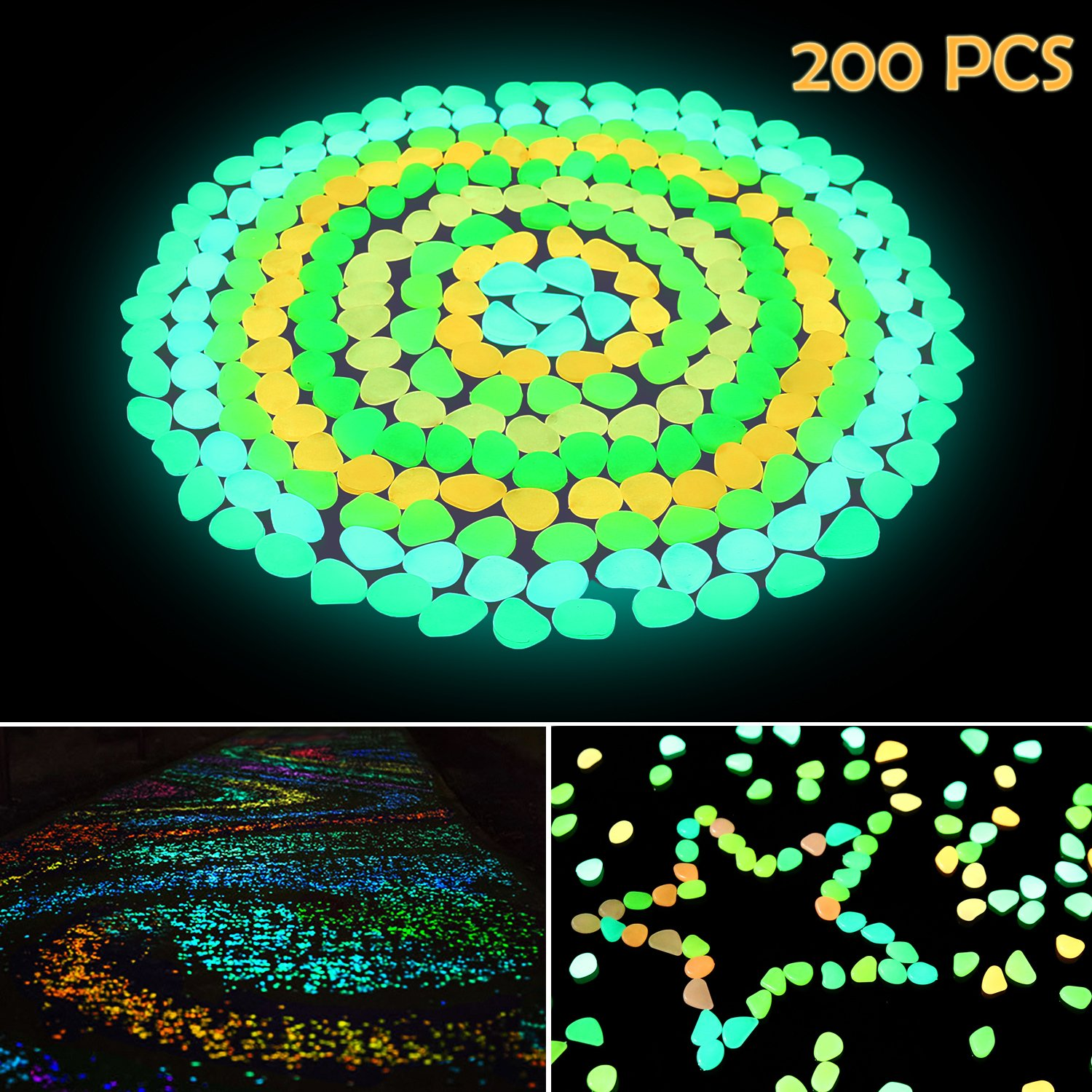 Ohuhu 200 Pcs Colorful Glowing Garden Pebbles, Glow in the Dark Decorative Stones for Walkways & Decor, Solar Power Luminous Stones Glowing Rocks for Plants Pot, Fish Tank etc